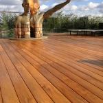 Indonesian Teak Exterpark Hardwood Decking used to display art sculpture