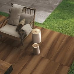 Life wood effect exterior tiles used to create a deck