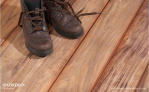 Kurupay Exterpark Hardwood Decking sample with boots