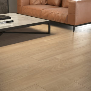 Fabula wood effect interior tiles in the finish Ulmus used in a living room