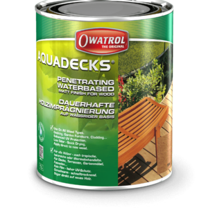Owatrol Aquadecks packaging - waterbased matt finish for wood