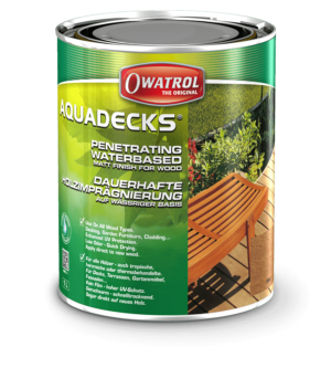 Owatrol Aquadecks packaging - waterbased matt finish for wood