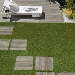 Vibe exterior tiles used as stepping stones in a garden