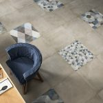 One interior concrete effect tiles used in a dining area