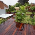 Kurupay Exterpark Hardwood Decking in a beautiful landscaped garden