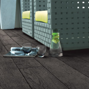 millboard Charred Decking with decking furniture