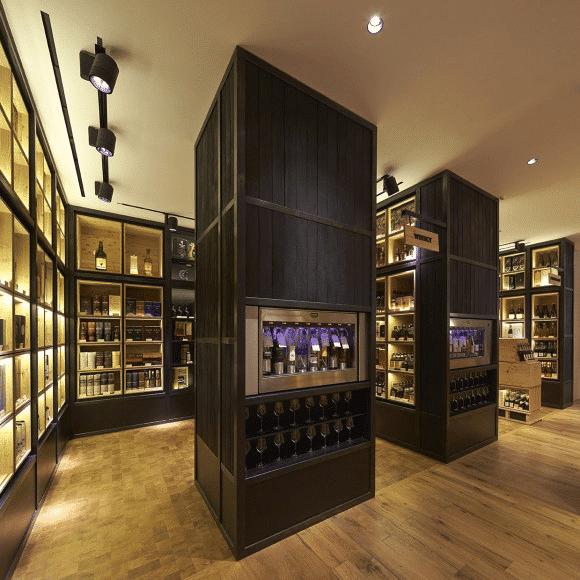 Interior charred oak cladding used in a wine cellar