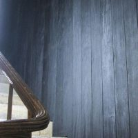 Charred cladding used on traditional staircase