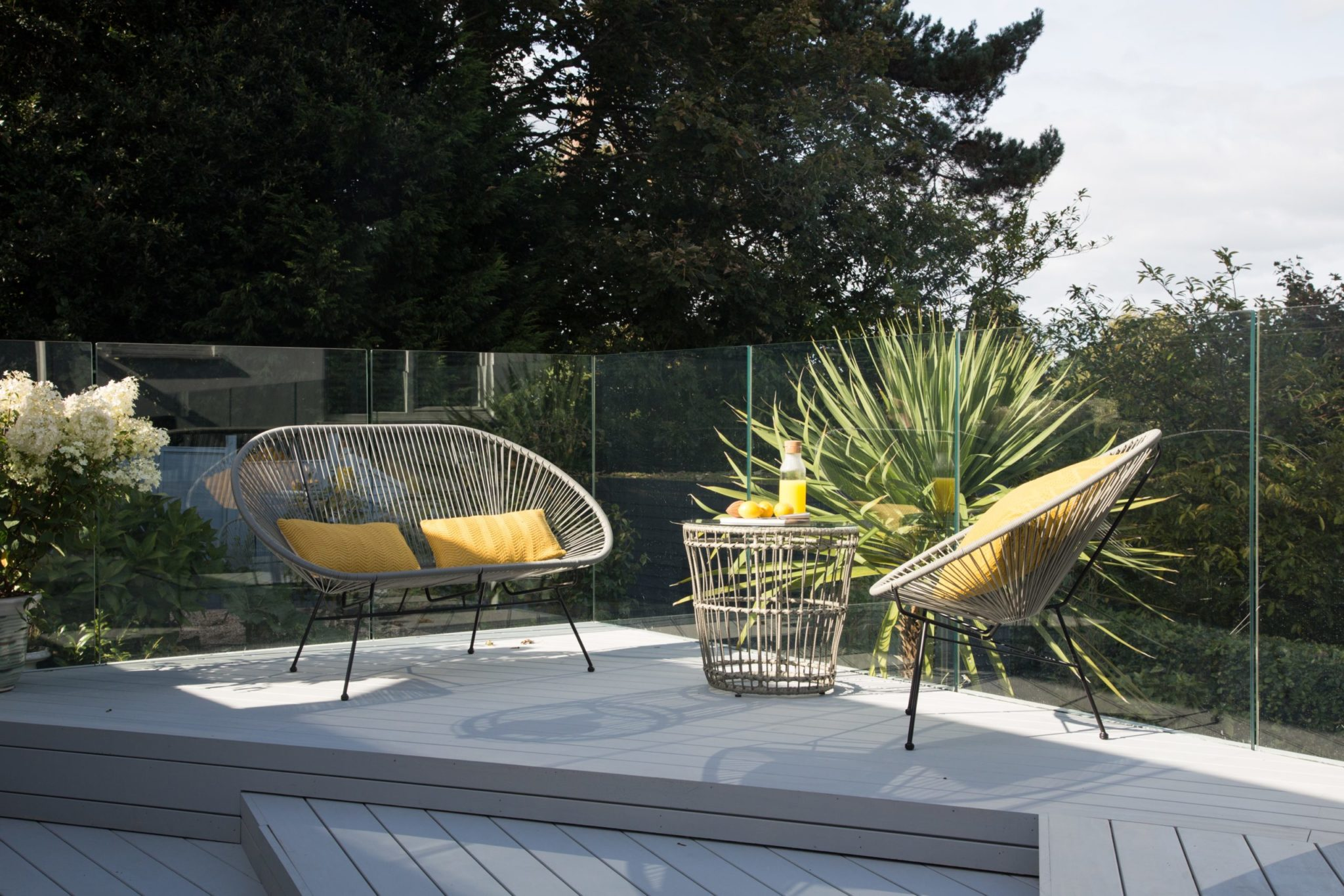 Grey Accoya Decking Terrace in magnet profile