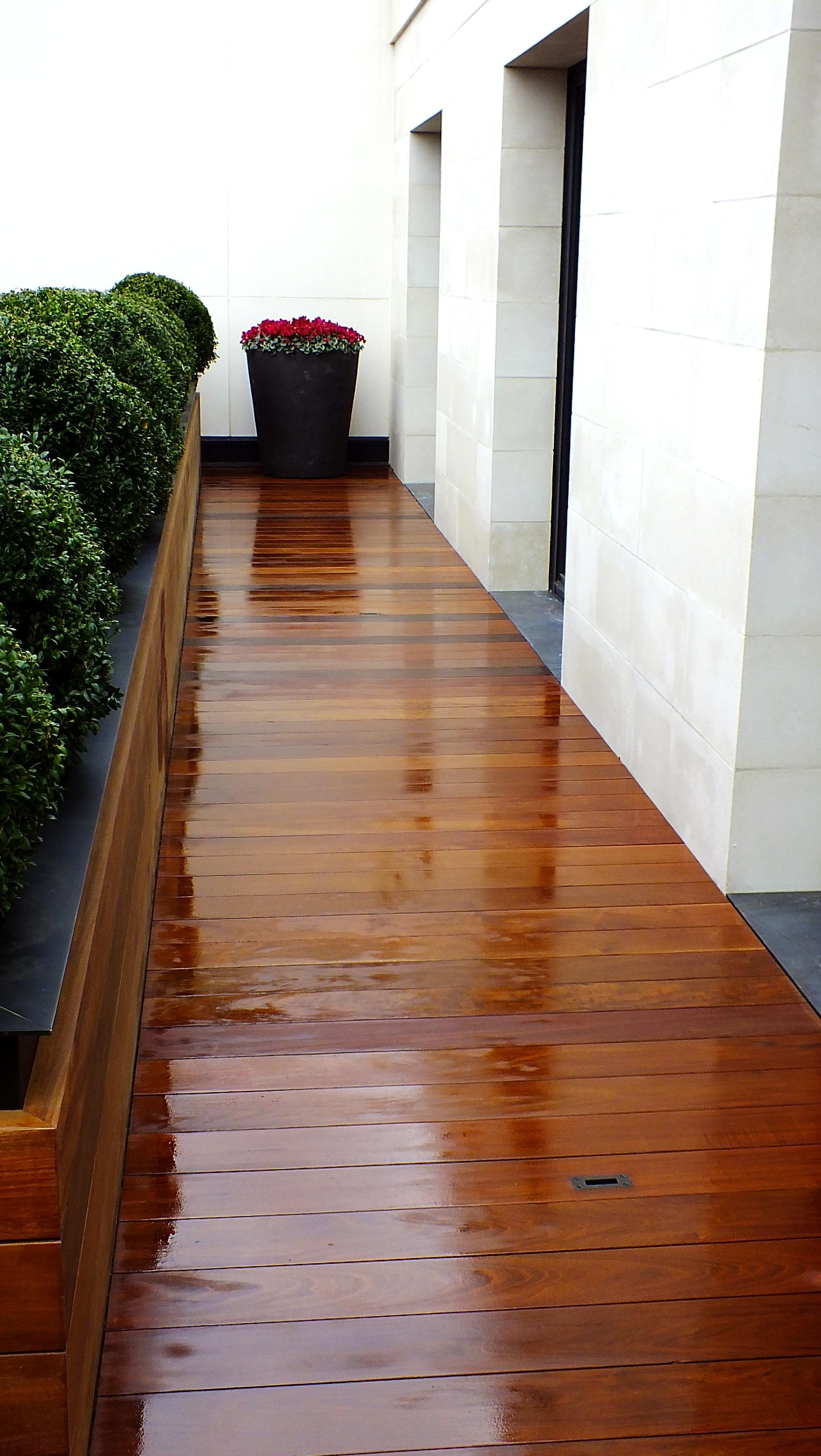 Exterpark ipe hardwood decking for a premier penthouse for Exterior hardwood decking