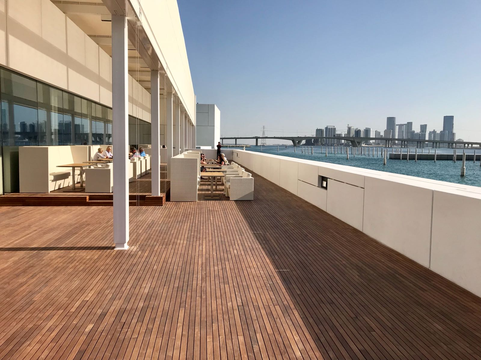 Contemporary rooftop hardwood decking