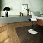 Arthis interior wood effect tiles used in a living room