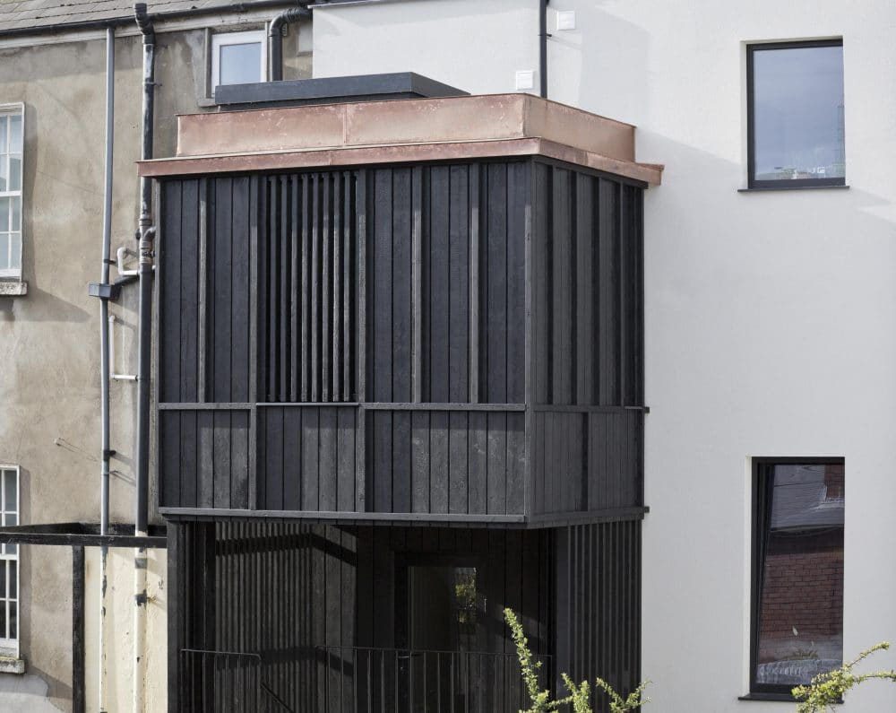 Charred timber used on Victorian 3 tory extension