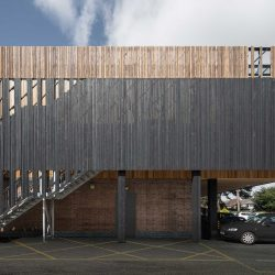 Charred and plain Siberian Larch timber cladding used on a leisure centre