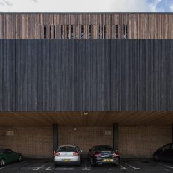 Shou Sugi Ban Larch Charred Takage, Larch Charred Heavy Brush Shiberiatora and Siberian Larch used on a leisure centre