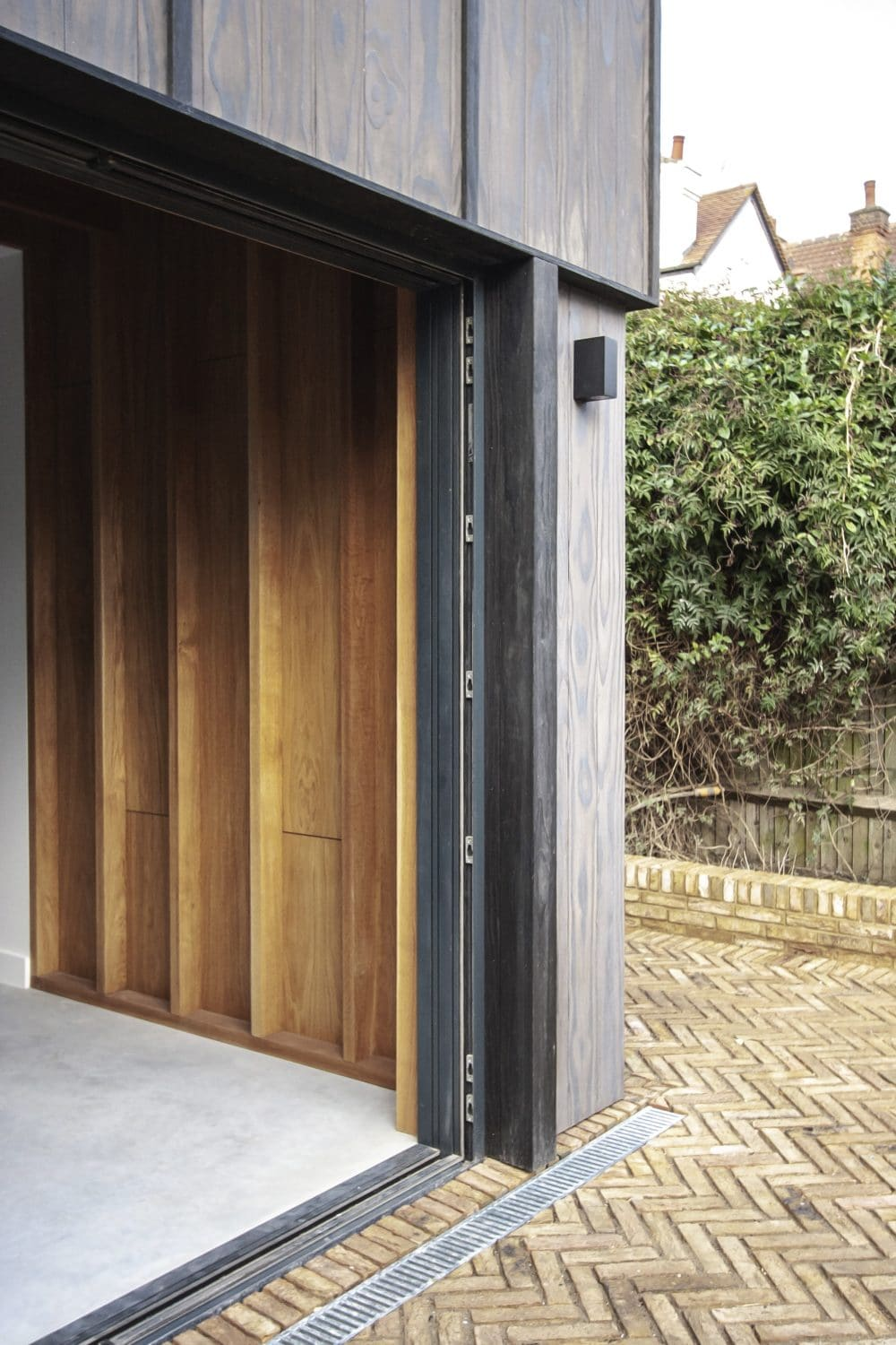 Inside view of house extension with charred Accoya cladding