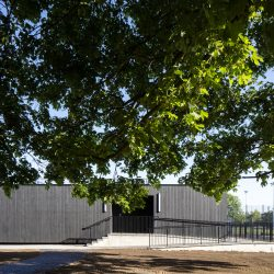 Eton College pavillion with Shou Sugi Ban® next to trees