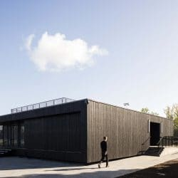 Corner view of Eton College pavillion with charred cladding from Shou Sugi Ban®