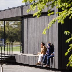 Eton College pavillion with Shou Sugi Ban® in the sunshine