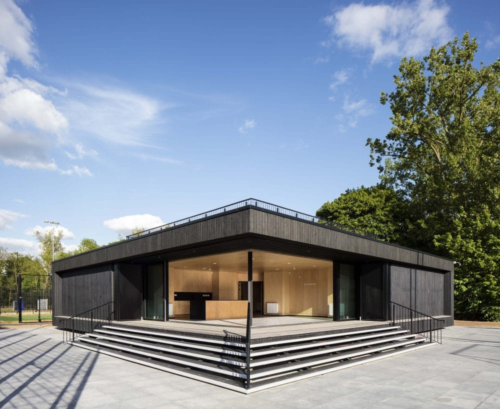 Corner view of Eton College Pavilion with charred timber cladding