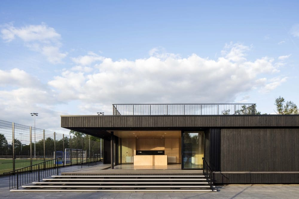 Eton College Pavilion Transformed with Charred Timber Cladding