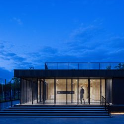Eton College pavillion with Shou Sugi Ban® at nightime