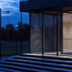 Night time view of Eton College pavillion with Shou Sugi Ban® charred cladding