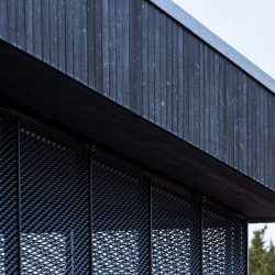 Detail view of Eton College pavillion with Shou Sugi Ban®