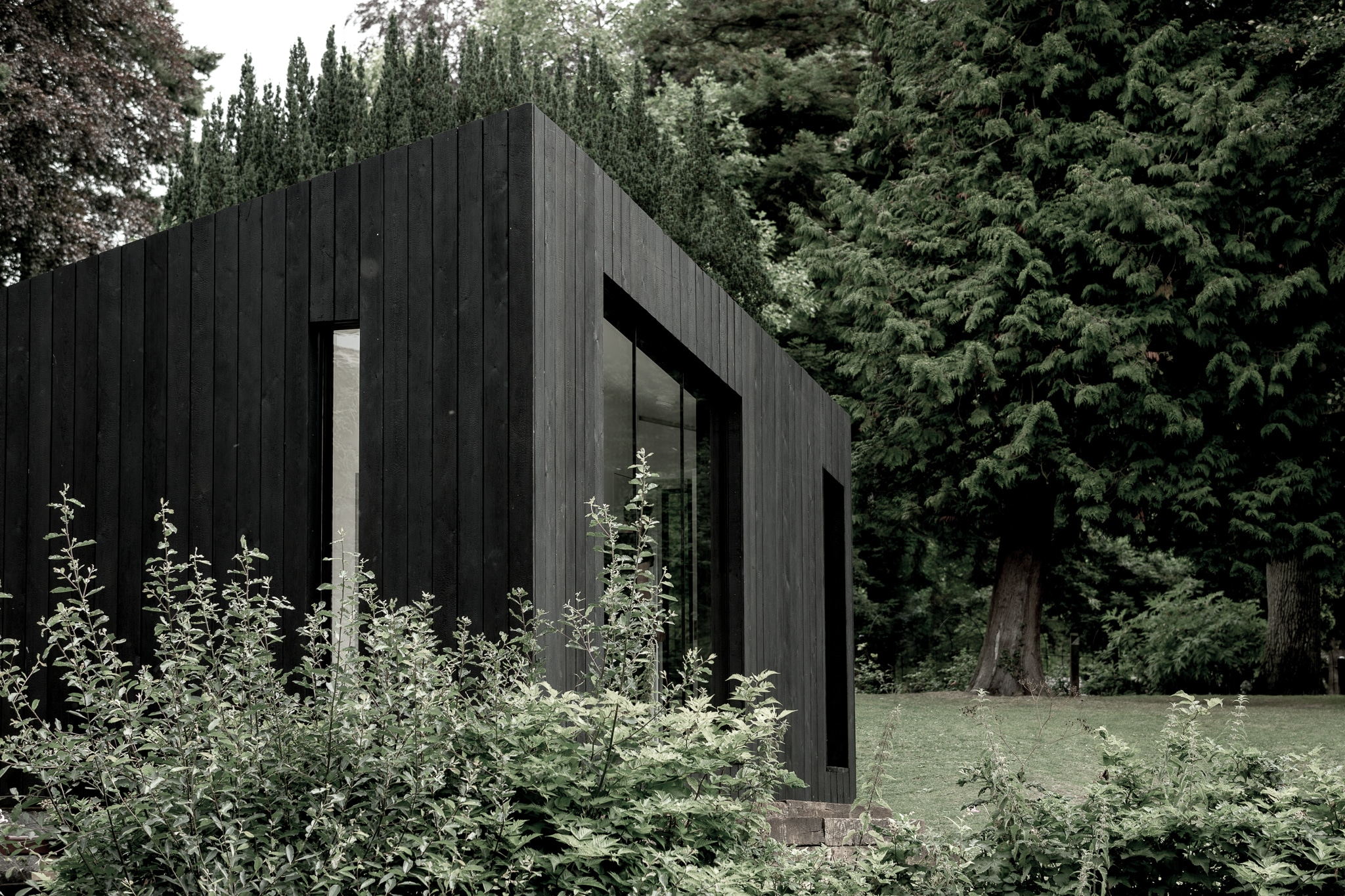 Koto Cabin with Charred Timber Cladding in woodland