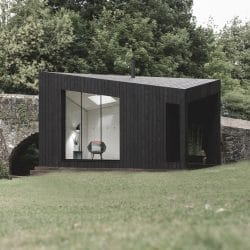 Front view of Koto Cabin with Charred Timber Cladding