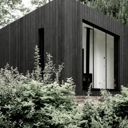 Corner of Koto Cabin with Charred Timber Cladding