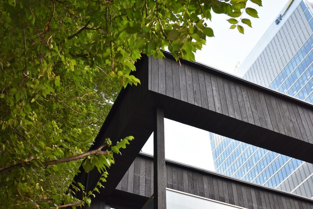 Corner of building with Charred cladding next to trees