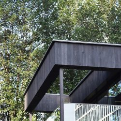 Top of building with charred wood cladding