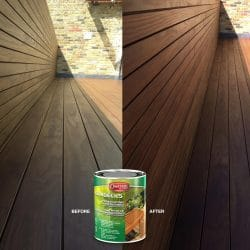 Owatrol Aquadecks used on decking before and after comparison