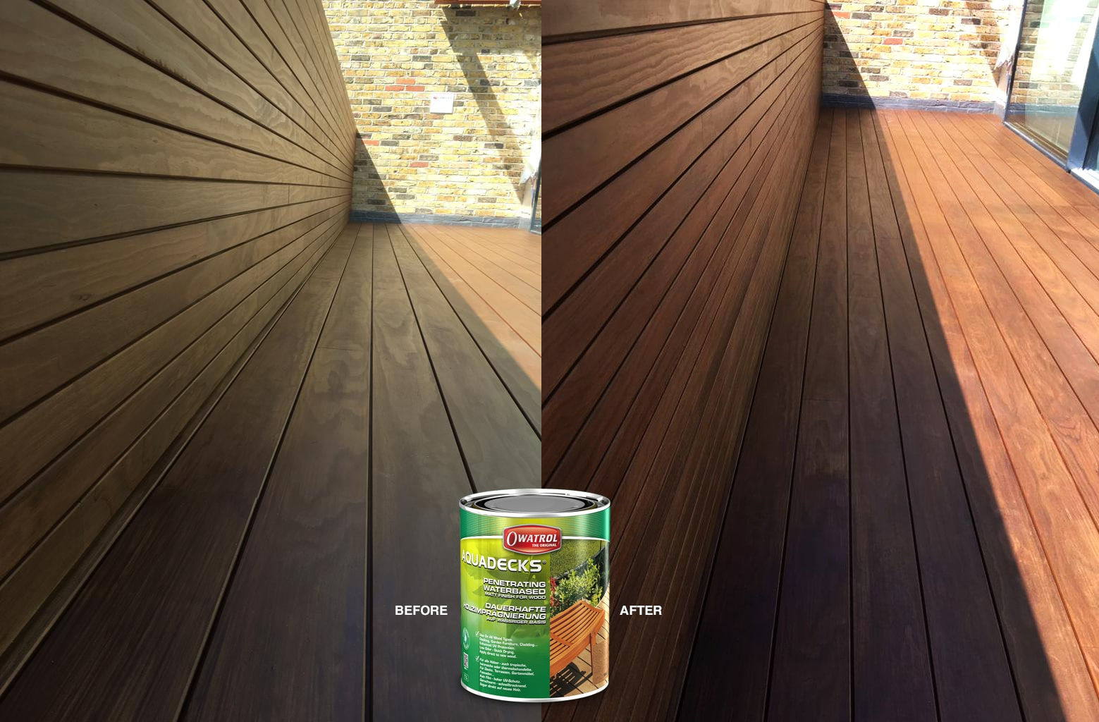 Kebony Magnet Decking before and after using Owatrol Aquadecks