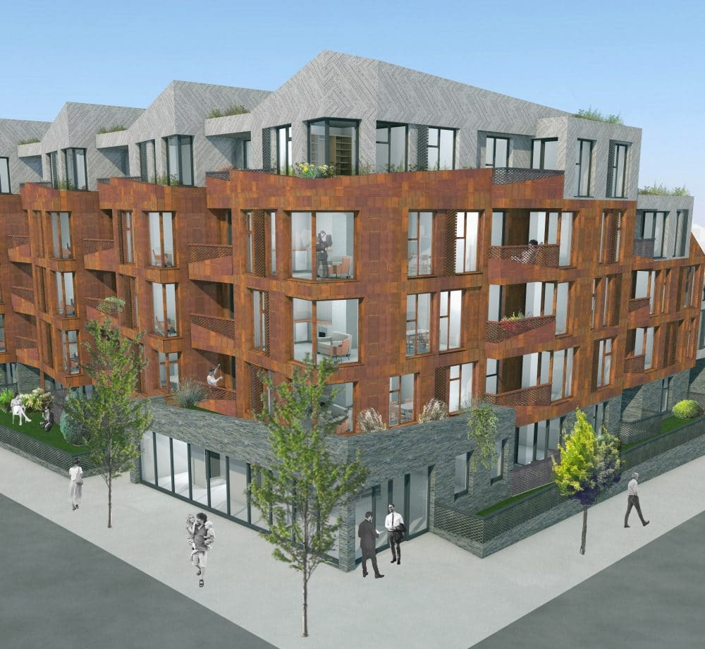 Render of Shou Sugi Ban® in Enfield by Crawford Partnership Architects