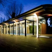 exterior decking around pool house designed by aros architects