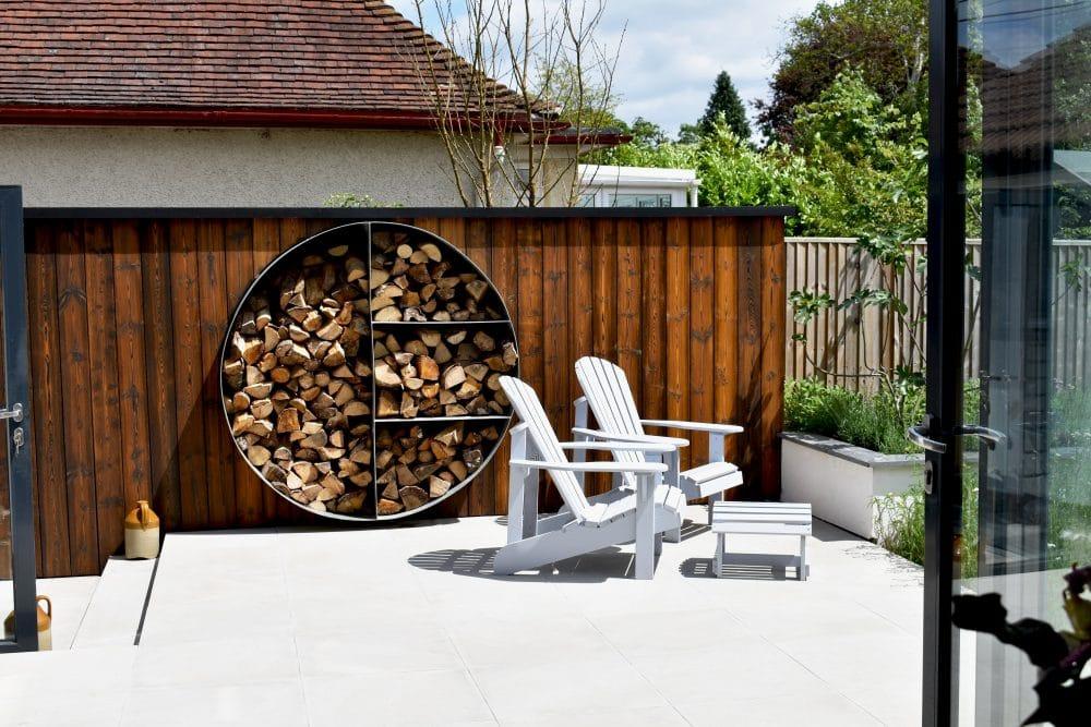 Shou sugi ban kebony log storage design by decorum.london