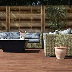 Decking with garden furniture
