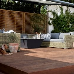 Outdoor seating area made from hardwood decking