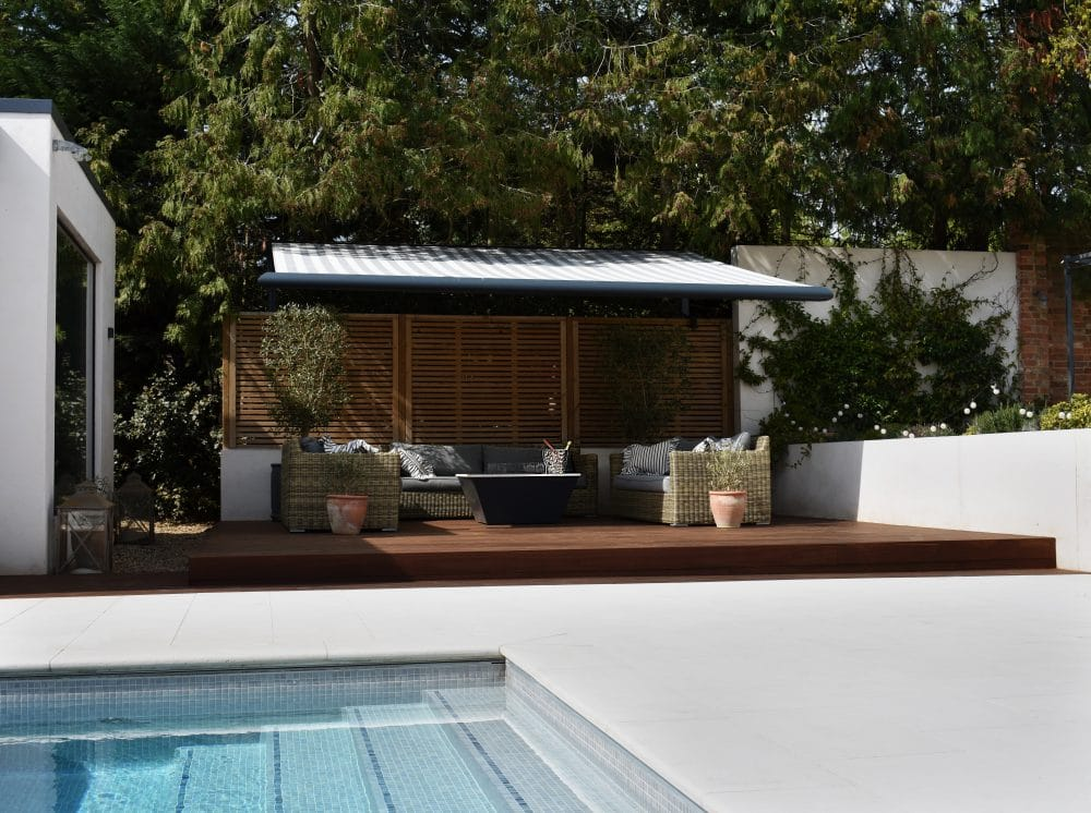 hardwood decking next to pool