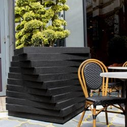 Charred Accoya twisted street planters