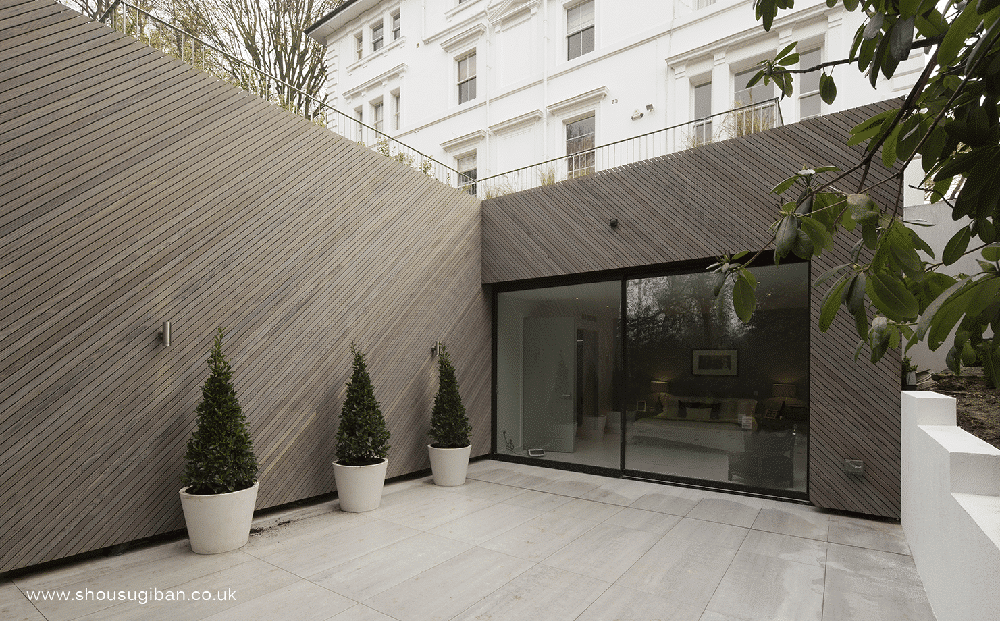 enhanced grain charred Kebony cladding used on a house in London