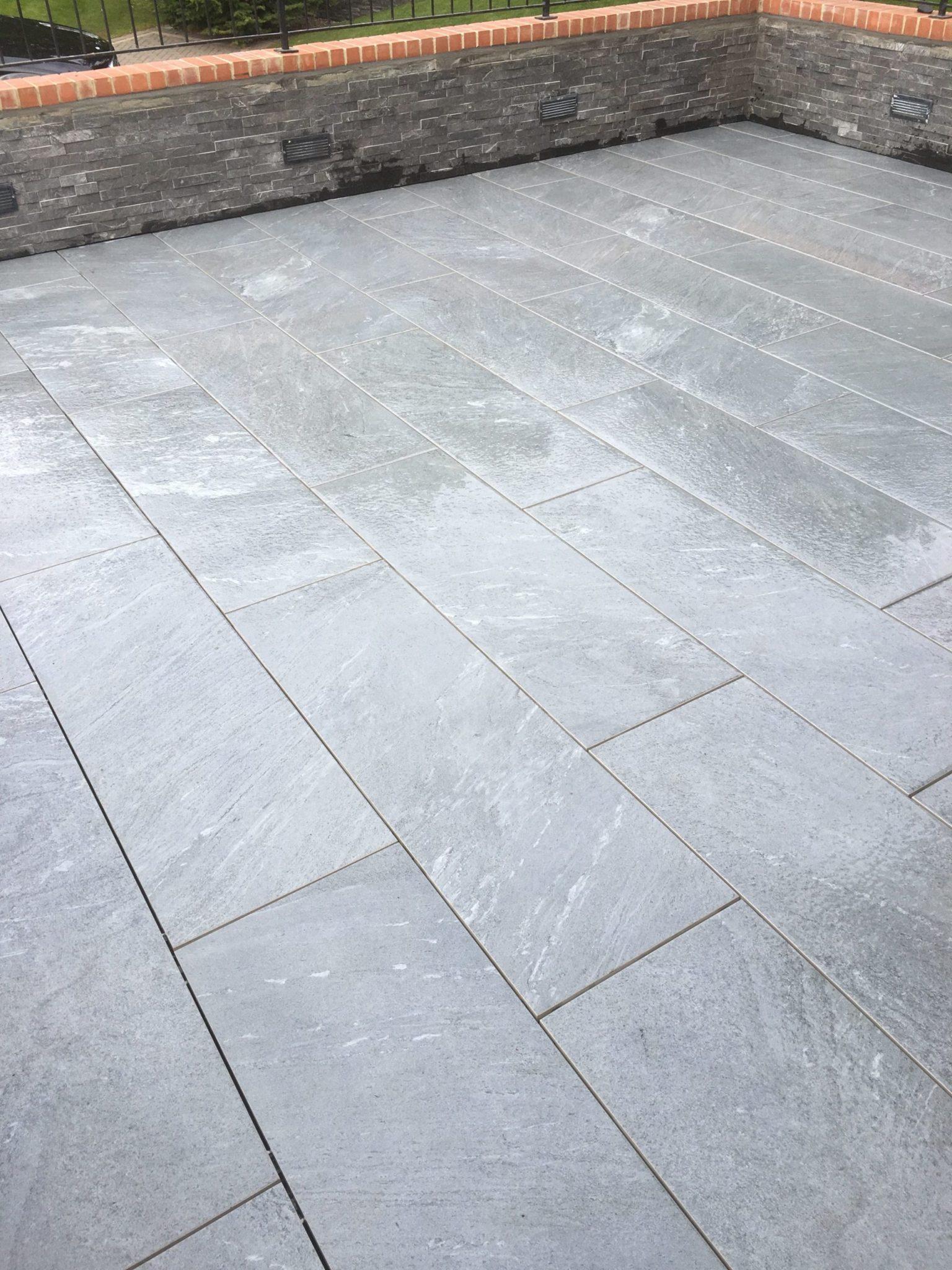 Grey garden paving