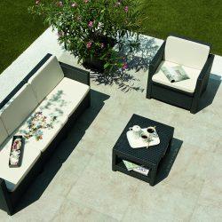 White Quartz Roxstones patio with garden furniture