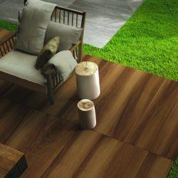 Life wood effect porcelain tile patio
