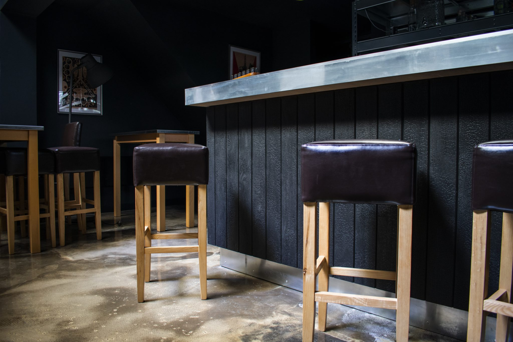 Charred Accoya Cladding used in a bar