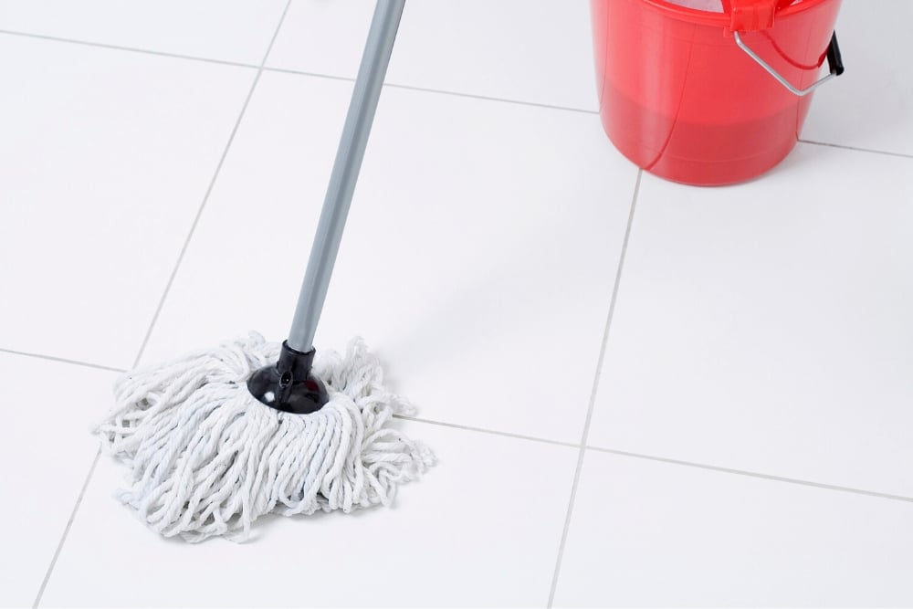 mop and tiles
