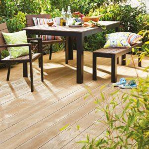 Millboard decking with garden furniture