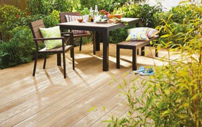 Millboard decking with garden furniture